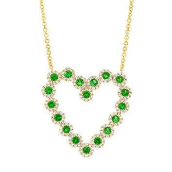 0.55ct Diamond & 0.79ct Green Garnet 14k Yellow Gold Heart Necklace