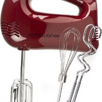 Andrew James Powerful 300 Watt Red Hand Mixer With Chrome Beaters, Dough Hooks, 5 Speed With Turbo Button + Bonus Balloon Whisk