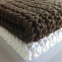 Washcloths/Dishcloth 100% Organic Cotton Complexion Exfolliating Large (Brown/White)