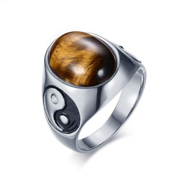Curious Oval Tiger Eye Ring - Vintage Brown Stones Yin Yang Stainless Steel Ring for Mens by Ritzy