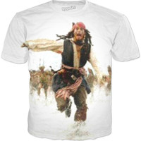 Jack Sparrow Running On Beach Tee