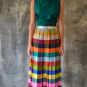 50s raw silk striped skirt by Petrune on Etsy
