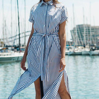 Shirt Dress Stripes Dress Blue Dress Blue-Striped Shirt Dress With Short Sleeves