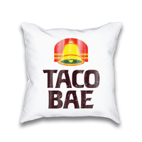 Taco Bae Vintage Typography Throw Pillow