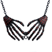 Black Skeleton Hands with Red Inlay Necklace