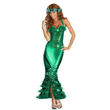 DCCKWQA Sexy Sea Siren Costume Adult Halloween Mermaid Fancy Dress Girl's summer dress