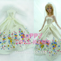"Princess Wedding Dress + Veil Fairy Tale Gown Copy Cinderella Clothes Outfit For Barbie Doll Kurhn 11.5"" 12"" Pretend Play Toy"