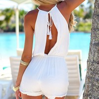 SUMMER PARADISE PLAYSUIT - white