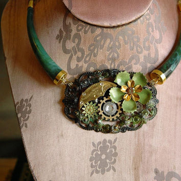 Steampunk Jungle Necklace Green Enamel Flowers by bionicunicorn