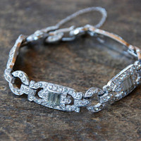 Vintage Art Deco Rhinestone Bracelet Rhodium Plated Pot Metal Links Safety Chain Wedding Bridal Prom 1930's // Vintage Costume Jewelry
