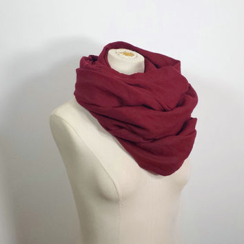 BURGUNDY SCARF - Long Maroon Linen Scarf - Natural Eco Friendly - Wine Scarf - Bloodroses