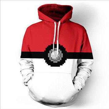 spring autumn fall Pokemon Go ash ketchum pocket monster  Valor Team Mystic  Team Instinct Pokeball Long Sleeve Hoodie