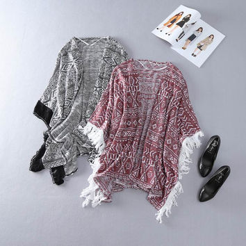 Fashion Multicolor Retro Ethnic Geometric Pattern Bat Sleeve Knit Tassel Shawl Cardigan Coat
