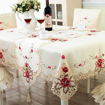 Embroidered Floral Lace Tablecloth Wedding Table Cover Square/Rectangle 3 Sizes