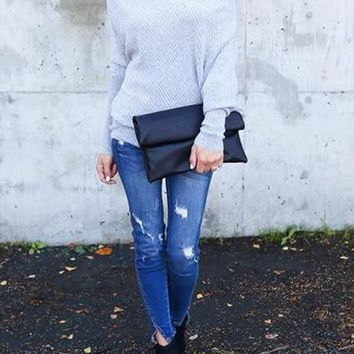Grey Plain Off-shoulder Casual Dolman Sleeve Loose Pullover Sweater