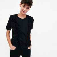 T-SHIRT WITH FRINGESDETAILS