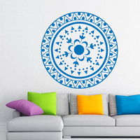 Flower Wall Decals Mandala Om Yoga Indian Pattern Oum Sign Living Room Interior Vinyl Decal Sticker Art Mural Bedroom Kids Room Decor MR379