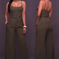 Coffee Sashes Spaghetti Strap Backless Wide Leg Casual Long Jumpsuit