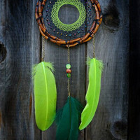Medium Green Brown bamboo dreamcatcher, dream catcher