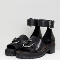 ASOS DESIGN Fink Leather Gladiator Flat Sandals at asos.com