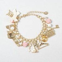 Paris Inspired Gold Charm Bracelet | Claire's