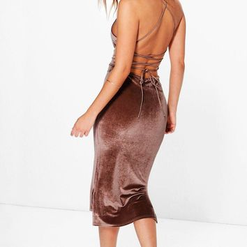 Sue Velvet Strappy Back Dip Hem Midi Dress | Boohoo