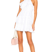 BCBGeneration Halter Ruffle Dress in Optic White