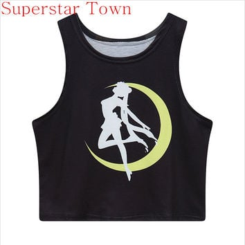 Sudaderas Mujer 2016 Harajuku Shirt Japan Sailor Moon Clothes Tops Crops For Summer 2016 Sexy Cool Girls t Shirt Cartoon