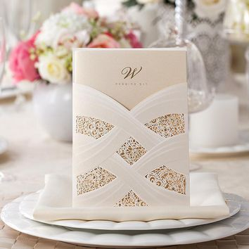 New white red elegant laser cut wedding invitations card supplies free shipping 10pcs/lot