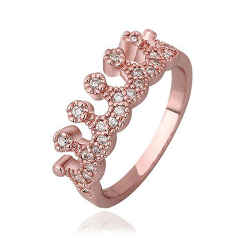 Rose Gold Plated Swirl Design Tiara Ring