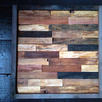 Modern Reclaimed Barnwood Art Wall Sculpture - 12x12