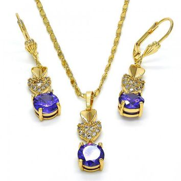 Gold Layered Necklace and Earring, Heart Design, with Cubic Zirconia, Golden Tone