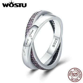 WOSTU Hot Sale Real 925 Sterling Silver Sweet Promise Ring, Pink CZ Female Finger Ring for Women Wedding Jewelry XCH7650