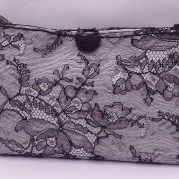 NEW YEAR SALE Black Purse Bag Made in Italy Handsewn Lace fabric Crochetted Cotton Ooak For Her Gift Idea Christmas Eve New Year's Eve