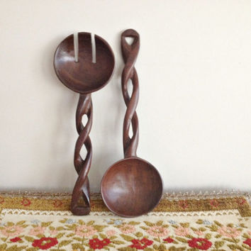 Vintage Wood Salad Servers Wall Hanging Twisted Wood