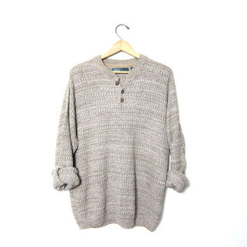 Vintage henley sweater. OSCAR De La RENTA Sweater. Speckled oatmeal boyfriend sweater. Button front sweater. Oversized baggy. Mens XL