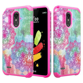 LG Stylo 3 Case, Stylo 3 Plus Dual Layered Shock Resistant Slim Hybrid Case for Stylo 3 / Stylo 3 Plus - Teal Flower