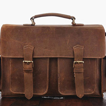 Brown Messenger Bag, Genuine Leather Shoulder Purse, Rustic Crossbody Satchel, Minimalist Briefcase, 521