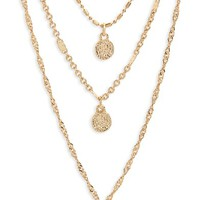 Panacea Triple Strand Circle Drop Necklace | Nordstrom