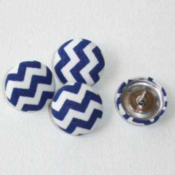 Thumb Tacks / Push Pins - Fabric Covered Buttons - Blue chevron zig zag   SET of 4  office accessories