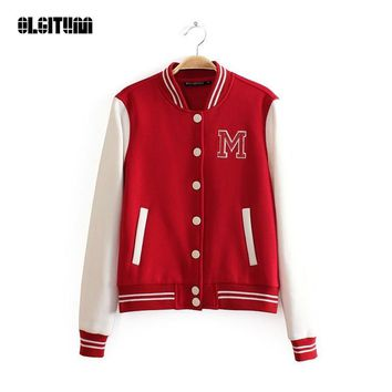 Autumn Winter Jacket 2018 NEW Fashion Coat Baseball Jacket Outerwear Women Fashion Bomber Jackets College Varsity Coats JK249