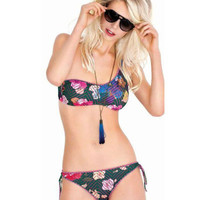 2017 Trending Fashion Floral Printed Sexy Floral Printed Triangle Two-Piece Erotic Bikini Swim Suit Beach Bathing Suits Swimwear _ 13267