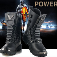 Mens PU Leather Lace-up Punk Rock Boots Outdoor Work Boot Martin Boot Army Boots BLACK