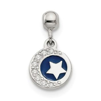 Sterling Silver Mio Memento Enamel And CZ Dangle Moon And Star Charm