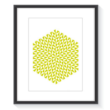 Hexagon print, yellow print, yellow and white, geometric print, modern print, printable wall art, color print, hexagon art, hexagon decor