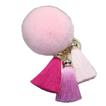 Creative Ice Silk Tassel Key Chain Women Rabbit Wool Ball Keychain Car Romantic Alloy Key Chain For Handbag