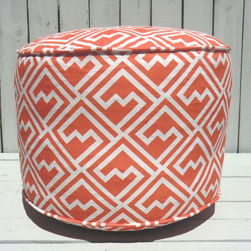 "Orange pouf ottoman, round ottoman 18"", geometric floor cushion, dorm pouf chair, childrens nursery pouf, kids room seating"
