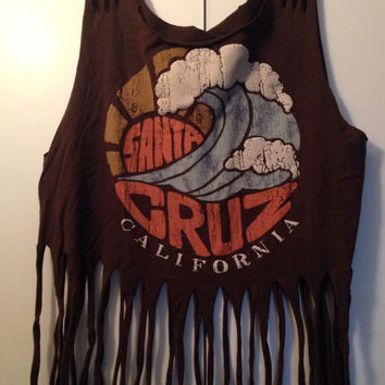 Vintage boho fringe Santa Cruz festival shirt sz medium/large
