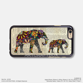 Elephant pattern newspaper iPhone Case Black Hard case 108