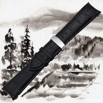 Black/Brown Genuine Leather Arc Watchband Butterfly clasp Watch Band Strap for Casio EQW-M710L 22mm/23mm/24mm